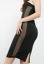 Missguided - Bandeau fishnet insert detail midi dress