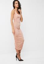 Missguided - Slinky gathered side midi dress