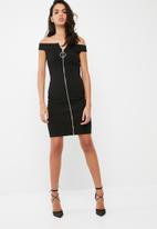 Missguided - Bardot zip front ring pull dress