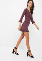 Missguided - Polka dot jersey tea dress