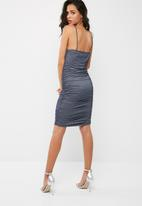 Missguided - Strappy faux denim ruched midi