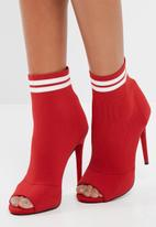 Missguided - Peep toe sock ankle boots