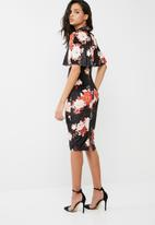 Missguided - Velvet floral print midi dress