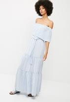 dailyfriday - Off the shoulder tiered maxi dress