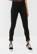 dailyfriday - Frayed hem mid rise skinny jeans
