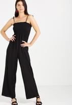 Cotton On - Woven ruby shirred sleeveless jumpsuit