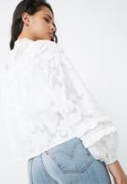 Missguided - Mesh high neck gathered detail blouse