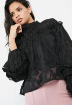 Missguided - Sheer mesh floral high neck gathered long sleeve top