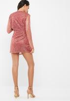 Missguided - Embellished plunge neck twist front sheer arms dress