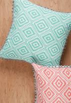 Sixth Floor - Aztec geo cushion cover - teal