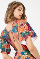 Missguided - Tropical print cape shoulder swimsuit