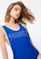 Missguided - Savage hot fix slogan swimsuit