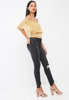 Missguided - Floral print mesh bardot bodysuit
