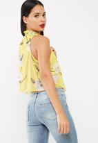Missguided - High neck floral printed layered top