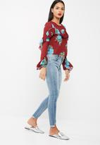 Missguided - Print long sleeve frilled blouse
