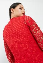 Missguided - High neck crochet long sleeve mini dress