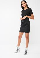 Missguided - Black corset denim skirt