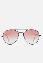 Missguided - Tapered red lens aviator sunglasses