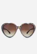 Missguided - Diamante studded heart sunglasses