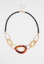 dailyfriday - Multi station black & tortoise link necklace