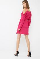 dailyfriday - Cold shoulder wrap shirt dress