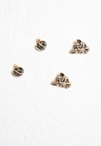 dailyfriday - 2pk black and crystal round stud and animal face