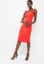 dailyfriday - Midi bodycon with ruffle straps