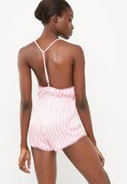 Missguided - T bar striped teddy