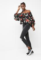 Missguided - Floral printed balloon sleeve blouse
