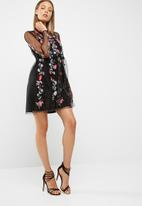 New Look - Floral embroidered mesh skater dress