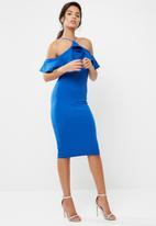 Missguided - Scuba high neck frill midi dress
