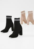 Missguided - Knitted stripe pointed ankle boot