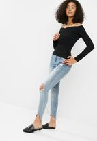Missguided - Cross front bardot knitted top