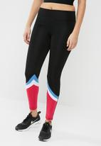 South Beach  - Colour block black and multi lower leg detail leggings