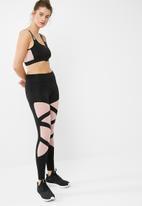 South Beach  - Shard zip front mesh insert sports bra