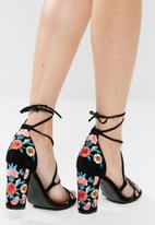 Public Desire - Wildfire faux suede embroidered heeled sandal