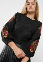 dailyfriday - Embroidered blouse with bow back
