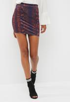 Missguided - Velvet snake print mini skirt