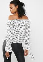 Missguided - Polka dot print bardot tie detail ruffle blouse