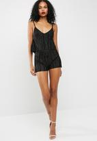Missguided - Pleated overlay strappy playsuit