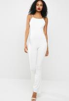 Missguided - Racer neck kick flare jumpsuit