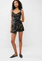Missguided - Satin floral print cami playsuit