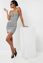Missguided - Check bandeau plunge front mini dress