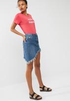 Cotton On - Asymmetric hem denim skirt