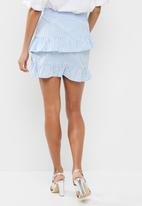 dailyfriday - Flower embroidered stripe frill skirt