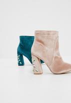 Public Desire - Reverend velvet gem heel detail ankle boot