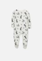 Cotton On - Baby license zip through romper - white