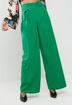 Missguided - Paper bag waist wide leg trousers - green