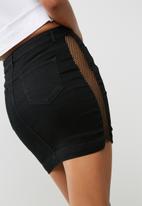 Missguided - Superstretch side seam mesh denim mini skirt