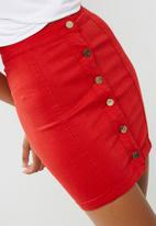 Missguided - Superstretch button through denim mini skirt